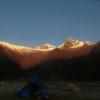 The sunset at Jancapampa camp